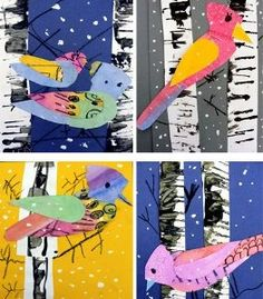 The Winter Bird Art Lesson is a great painting project for kids that is totally fridge-worthy. for-my-yet-undiscovered-artistic-talent