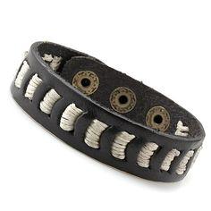 Trendy Mens Cosmopolitan Indian Black Leather Bracelet Cuff | RnBJewellery