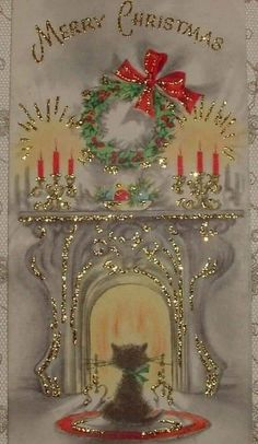 Glittered - Kitty Warming by the Fire, Cat - Vintage Christmas Card Vintage Christmas Crafts, Vintage Christmas Wrapping Paper, Vintage Christmas Images, Retro Christmas, Christmas Pictures, Christmas Art, Christmas Greetings, Christmas Decorations, Christmas Cookies