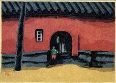 畦地梅太郎「満州」より「赤い壁」1944年 千葉市美術館所蔵