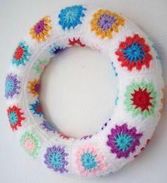 Crochet granny wreath