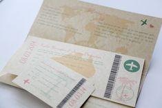 Australian Themed Parchment Travel Ticket Wedding Invitation