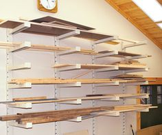 Shelves on wall with lumber