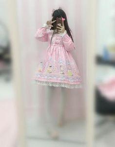 2016-Women-039-s-Lolita-Sweet-Cake-with-Rabbit-Print-Dress-Long-Sleeve-Cute-3-Colors