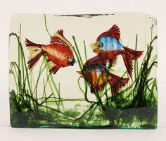 Barbini Cenedese Murano Art Glass Aquarium Block