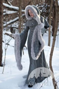 "Medieval Costume , Wool grey fantasy coat ""Heritrix of the Winter"""