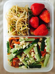 Sesame Noodles Soybean Sprouts and Strawberries. Healthy and nutritious