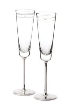 Kate Spade Toasting Glasses inscribed with 'Mr.' and 'Mrs.' Perfect for the wedding day!