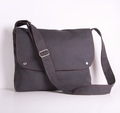 Grey Messenger Bag, Men Canvas Messenger Bag, Laptop Bag Grey canvas with Red lining...CITY on Etsy, $42.00
