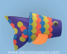 Rainbow Fish puppet cup craft for kids www.daniellesplace.com