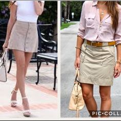 Khaki skirt. Host pick.9/19 🎉Great spring piece Waist 32 length 19. Drawstring in waist.  Never worn. Above the knee length. A line style.   98% cotton 2 % spandex.  Pic 3 and 4 are actual skirt. Christopher & Banks Skirts Midi