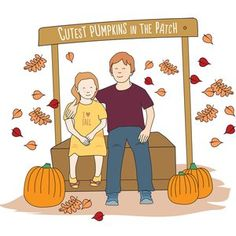 Personalised children portrait - digital family illustration, fall decor, gift for mom, fall gifts for fall theme Family Illustration, Heart Illustration, Fall Gifts, Cute Pumpkin, Autumn Theme, Make Me Smile, Gifts For Mom, Fall Decor, Whimsical
