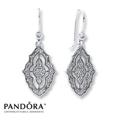 Pandora Dangle Earrings Sparkling Lace Sterling Silver