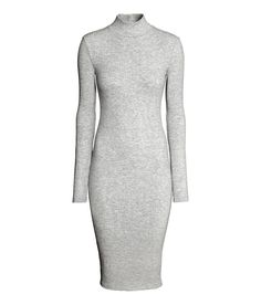 Check this out! Fitted, knee-length dress in ribbed jersey with a turtle neck and long sleeves. - Visit hm.com to see more.
