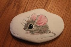Cute little deer mouse painted rock