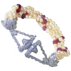 Early Art Deco Natural Pearl Burma Ruby Diamond Platinum Bracelet | From a unique collection of vintage beaded bracelets at https://www.1stdibs.com/jewelry/bracelets/beaded-bracelets/