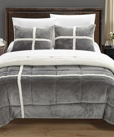 This Silver Chloe Sherpa Lined Comforter Set by Chic Home Design is perfect! #zulilyfinds