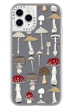 @casetify #mushrooms #illustration #nature #gray #botanical #sharonturner #vintage #retro Tech Accessories, Casetify, Iphone 8, Stuffed Mushrooms, Iron, Phone Cases, Retro, Cover, Illustration