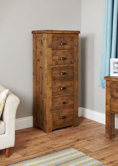 baumhaus heyford rough sawn oak tallboy 6 drawer modern chest of drawers tallboy