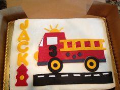 Fondant fire engine cake decoration.
