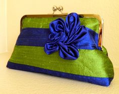 Blue and Green Striped Silk Clutch - Custom by SimplyClutch on Etsy. Green Silk, Navy And Green, Ribbon Projects, Love Blue, Color Azul, Electric Blue, Green Stripes, Green Colors, Purses And Bags