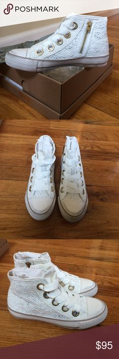 Ash lace Venus high top sneaker Brand new pair of Ash lace sneakers is white. Adorable with jeans/dress/skirt for the fall! Ash Shoes Sneakers