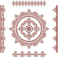 Mehndi (henna) Mandala and Borders Royalty Free Stock Vector Art Illustration
