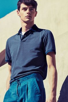 Blue fashions take center stage in Mango's latest spring/summer look book in menswear.