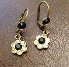 New In Box! Michal Negrin Black/gold Flower Earrings - Black/Gold, Earrings., Flower, Michal, Negrin - http://designerjewelrygalleria.com/michal-negrin/michal-negrin-earrings/new-in-box-michal-negrin-blackgold-flower-earrings/