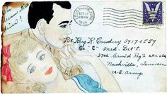 "Cecile Cowdery drew on the envelopes of letters to her husband during WW2: ""After my first colorful envelope arrived, Ray let me know it had drawn a lot of attention from the other soldiers. From then on, I dared not let up! I drew those scenes to help him feel special. While other soldiers got ""Dear John"" letters, my man was assured daily by my sharing of remembered things from back home."" #vintage #1940s #WW2"