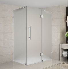"""Aston SEN987F-3734-10 Avalux 37"""" Wide x 34"""" Deep x 72"""" High Frameless Hinged Sho Stainless Steel Showers Shower Enclosures Hinged"""