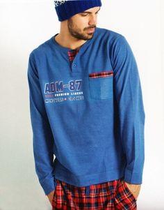 #Pijama Algodón #Admas - Ref: 58507 Blue - Pijama juvenil en algodón aterciopelado de manga larga y pantalón largo, para un uso en otoño e invierno. #hombre #ropaInterior #modahombre http://www.varelaintimo.com/marca/1/admas
