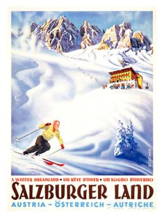size: Giclee Print: Winter Dreamland / Salzburger Land / Austria by WALTER J. BOSCHAN : This exceptional art print was made using a sophisticated giclée printing process, which deliver pure, rich color and remarkable detail. Vintage Ski Posters, Vintage Advertising Posters, Vintage Advertisements, Hallstatt, Stations De Ski, Austria Travel, Travel Wall, Stretched Canvas Prints, Framed Prints