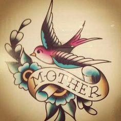 In love with American Traditional tattoos - Swallow memorial tattoo. Tatto Old, 1 Tattoo, Tatoo Art, Tattoo Drawings, Tattoo Bird, Bluebird Tattoo, Mother Tattoos, Mom Tattoos, Future Tattoos