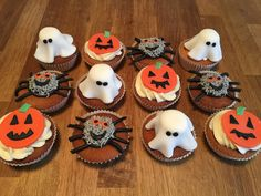 Halloween Cupcakes, Ghost, Pumpkin and Spiders