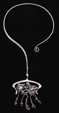 Necklace | John Satterfield.  Sterling silver with turquoise and gemstones.  ca. 1969.