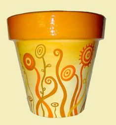 Painted Clay Pots, Painted Flower Pots, Clay Pot Crafts, Terracotta Pots, Yard Art, Cute Drawings, Diy, Floral, Flowers