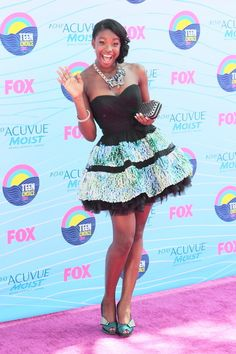 "Coco Jones wore Love16 gown to the Teen Choice Awards     Coco Jones is a Tennessee-raised singer/rapper/dancer from Radio Disney's ""Next Big Thing [NBT]"" and she made her film debut in the Disney Channel movie ""Let It Shine."""