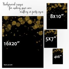 "Instant digital download: this is a pack of background images for making your own wedding or party signs in this fun and festive gold bokeh background.    Color: black background and gold bokeh confetti (shown)  Included sizes: - 4x6"" - 5x7"" - Size 8x10"", to be printed on A4 paper. Image area is 8x10 inch. It will fit frames with mat for 8x10 inch prints. - Size 16x20""  Just open the files in your favorite images program, add your text and save."