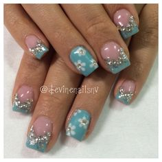 Tiffany blue and silver glitter gel nails with rhinestones and flower accent nail #spring2014 @devinenailsnv