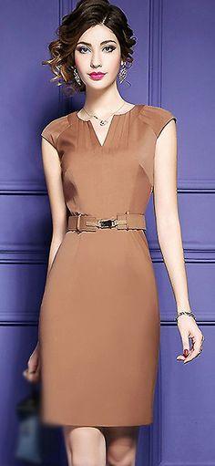 Brief V-Neck Sleeveless Belted Bodycon Dress #bodycondress