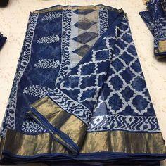 No photo description available. Silk Saree Kanchipuram, Ikkat Saree, Silk Sarees, Saris, Lakshmi Sarees, Indigo Saree, Cotton Saree Blouse, Sumo, Kota Sarees