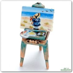Easel with Girl and Seashore Limoges Box