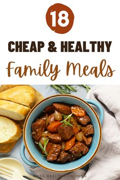 I've got the best family meals for busy weeknights or a warm Sunday supper. Find out what meals you can feed your family on a budget that's still healthy. Cheap Healthy Family Meals, Frugal Meals, Easy Meals, Healthy Taco Soup, Healthy Tacos, Peas And Bacon Recipe, Vegan Chicken Noodle Soup, Potluck Recipes