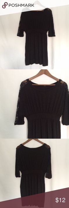 Soprano Black Tunic Shirt Lace panels on the tops of the arms. good condition. Soprano Tops Tunics