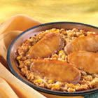 Pork and Corn Stuffing Bake- Really good but add c of milk to the corn bread mix. Next time I am going add dried cranberries and use chicken Pork Chop Recipes, Crockpot Recipes, Yummy Recipes, Healthy Recipes, Pepperidge Farm Stuffing, Stuffing Mix, Cornbread Stuffing, Mustard Pork Chops, Baked Corn