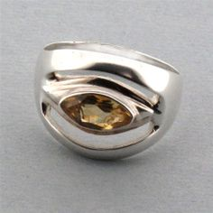 Yellow Citrine Sterling Silver Ring Jewelry Marquise Faceted Semi Precious #YouniqueJewelry #MarquiseStone
