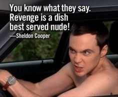 """""""Revenge is a dish best served nude!"""" ~ Sheldon Cooper  Maybe ill try... Hmmm  Disturb them to death"""