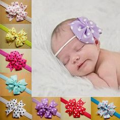 4pcs Lovely Bowknot Elastic Headbands Hair Bow Baby Infant Girl Hair Accessories