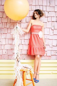 Out-Of-Doors Dress from BHLDN. I love her hair, I love I love the color of the dress and the balloon together. Big Balloons, Wedding Balloons, Latex Balloons, Coral Bridesmaid Dresses, Wedding Dresses, Blue Shoes, Women's Shoes, Shoes Style, Bhldn